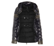 Calinitide paneled twill and quilted shell down hooded coat