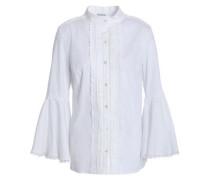 Pintucked cotton-blend poplin shirt