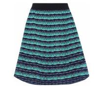 Flared crochet-knit mini skirt