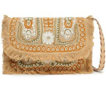 Embellished Embroidered Jute Shoulder Bag Sand Size --