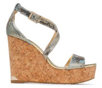 Metallic Snake-effect Leather Wedge Sandals Platinum