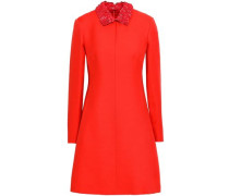 Floral-appliquéd Leather-trimmed Wool And Silk-blend Mini Dress Red