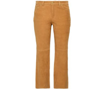 Suede Kick-flare Pants Camel Size 00