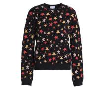 Paneled jacquard-knit sweater