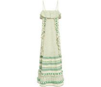 Peeri Tasseled Embroidered Cotton-gauze Dress Green