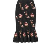 Orchidea Ruffled Embellished Corded Lace Midi Skirt Black