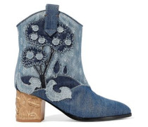 Embroidered Denim Ankle Boots Mid Denim