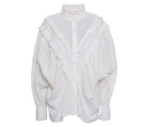 Ruffled Broderie Anglaise Cotton Shirt White