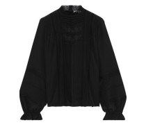 Joia Embroidered Silk Crepe De Chine Blouse Black
