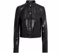 Cropped Crinkled Patent-leather Jacket Black