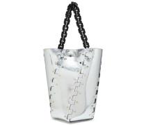Studded metallic leather bucket bag