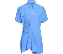 Asymmetric Pleated Cotton-poplin Shirt Light Blue