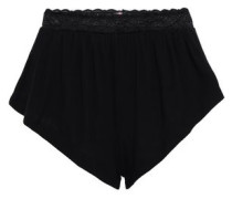 Lace-trimmed Micro Modal-blend Jersey High-rise Briefs Black