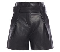 Woman Belted Leather Shorts Black