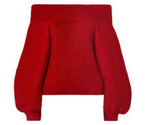 Off-the-shoulder Wool-blend Sweater Red