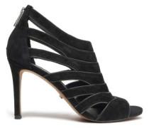 Harper Cutout Suede Sandals Black