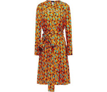 Woman Belted Printed Silk-twill Dress Orange