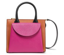 Color-block Textured And Smooth Leather Shoulder Bag Fuchsia Size --