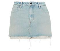 Striped Jacquard-paneled Distressed Denim Mini Skirt Light Denim  6