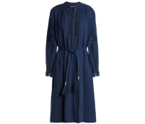 Belted Cotton-chambray Shirt Dress Indigo