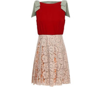 Bow-embellished Cotton-blend Corded Lace And Crepe Mini Dress Claret