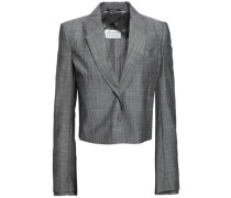 Double-breasted Cropped Virgin Wool Blazer Gray