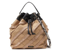 Woman Leather-trimmed Fringed Raffia Bucket Bag Neutral