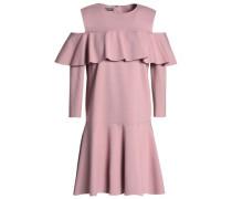 Cold-shoulder ruffled ponte mini dress