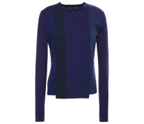 Woman Asymmetric Color-block Knitted Sweater Navy