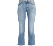 Cropped frayed mid-rise bootcut jeans
