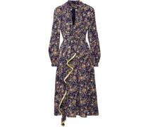 Fringe-trimmed metallic floral-print silk-georgette midi dress