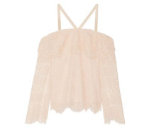 Cold-shoulder Corded Lace Top Blush