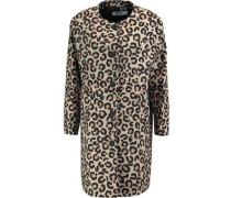 Leopard-print woven cotton-blend coat