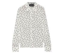 Peony Printed Silk Crepe De Chine Shirt White
