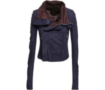 Stretch-knit Paneled Suede Biker Jacket Purple
