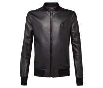 "Leather Bomber ""Plein and Skull"""
