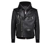 Leather Hoodie Biker Statement