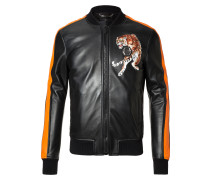 """Leather Bomber """"Black Space"""""""