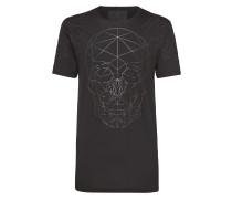 """T-shirt Black Cut Round Neck """"Faces"""""""