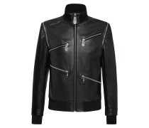 Leather Bomber Zipped