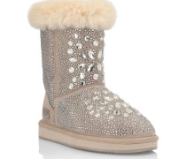 Boots Low Flat Crystal