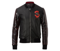 """Leather Bomber """"Money and python"""""""