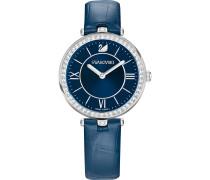 Aila Dressy Lady Uhr, Lederarmband, blau, Edelstahl