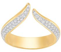 Groove Narrow Ring, weiss, vergoldet Weiss vergoldet