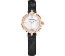 Aila Dressy Mini Uhr, Lederarmband, schwarz, roséfarben