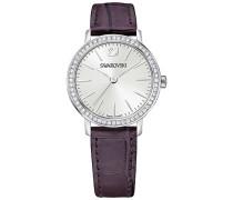 Graceful Mini Uhr, Lederarmband, lila, silberfarben Weiss Edelstahl