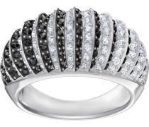 Luxury Domed Ring, schwarz, rhodiniert