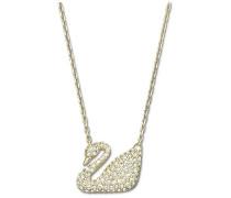 Swan Halskette, weiss, vergoldet Weiss vergoldet