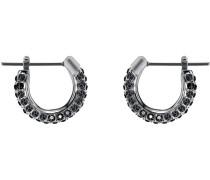 Stone Ohrringe, klein, schwarz, rhodiniert