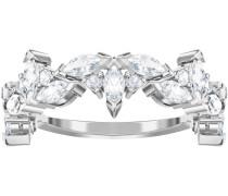 Lady Flower Ring, weiss, rhodiniert